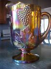Indiana Glass Pitcher Iridescent Gold Carnival Harvest Grape Footed 64oz Box