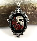 SUGAR SKULL CAMEO SILVER PENDANT NECKLACE Day of the Dead RED ROSES HAND PAINTED