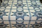 One Quilt Top Cheater Quilt Fabric Calico Lone Star Last Blue 90 w x 100