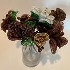 Glass Beaded Flower 10 Stems Bouquet Brown White Wired