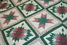 One Quilt Top Cheater Quilt Fabric Calico Star Cranberry Green 90 w x 110
