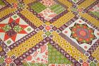 One Quilt Top Cheater Quilt Fabric Calico Patchwork Retro Burgundy 90 w x 107