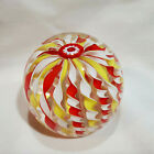 Fratelli Toso Murano Art Glass Italy Made Crown Ribbons Paperweight Candy Swirls