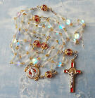 UNIQUE Mermaid glass Aura Crystal 2 tone red Rosary Handmade Italy St Benedict