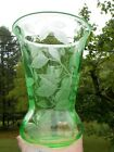 Elegant Cambridge Glass Green Etched Tall Flared Vase Bird Butterfly Cherries