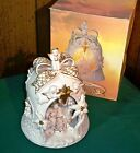 Porcelain Bell Nativity Lamp with Gold Accents