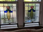Pair of Art Deco stained glass panels x2  really lovely design and colours