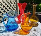 COLORFUL Blown ART GLASS Pitcher VASE Lot of 4 Smaller Pieces w FREE SHIPPING