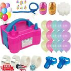 130Pcs Party Set USA Portable Electric Double Air Pump Balloon Inflator Blower