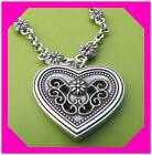 BRIGHTON RETIRED HEART Flower Scroll Silver Pendant NECKLACE NWotag