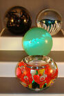 Lot of Four 4 Beautiful Glass Paperweights Signed assorted artists