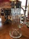 AMERICAN BRILLIANT PERIOD CUT GLASS PITCHER JUG with STERLING SILVER COLLAR