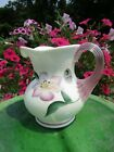 FENTON Iridescent Hand Painted Art Glass Pitcher family signed and artist signed