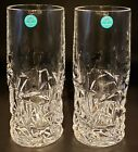 2 Signed Tiffany  Co Crystal Rock Cut 65 Highball Tumblers Glasses Engraved