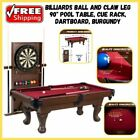 Billiard Pool Table With Cue Rack Bristle Dartboard Ball And Claw Leg 90 Inches