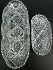 Crystal Relish Dish Vintage Clear Cut Glass Saw Tooth Hob Star Pickle Lot of 2