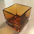 Minimalist amber and clear cased glass square vase by Krosno of Poland