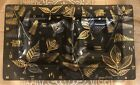 Georges Briard MCM Glass Tray Black gold Insects bugs leaves 2 Serving Wells