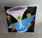 Peggy Karr Martini Cocktail Drink Olives Geometric Fused Glass Square Plate