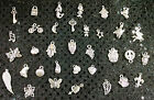 SILVER CHARMS Lot of 34 Heart Butterfly Peace Owl Bike Turtle Moon Shell CRAFTS
