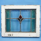 16x18 Antique American STAINED GLASS WINDOW Multi Color Wood Frame Floral