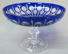 Bohemian Cobalt Cut To Clear Overlay Glass Compote