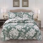 KARO FLOWERS GREEN REVERSIBLE BEDSPREAD QUILTED SET 3 PCS CALIFORNIA KING SIZE
