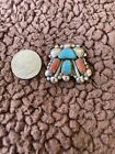 Old Pawn Native Navajo Sterling Turquoise Coral Handmade Vintage Pendant Pin