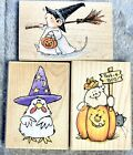 3 HALLOWEEN rubber stamps PENNY BLACK witch WHIPPER SNAPPER ghost pumpkin