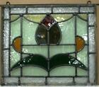 OLD ENGLISH LEADED STAINED GLASS WINDOW Unframed w Hooks Floral 1425 x 12