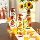 Stunning Harvest Autumn Lighted Handpainted Crackled Glass Vase Battery Operated