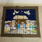 VTG Nativity Scene Tapestry Wall Hanging 39X 33 Quilted Hand Sewn EUC