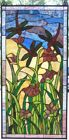 Large handcrafted dragonfly stained glass window panel