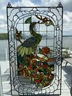 Large handmade stained and beveled glass colorful peacock window panel with hook