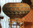 Hand Woven Glass Beaded Basket Centerpiece Pave on Brass Stand