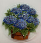 Rare Peggy Karr Fused Glass Hydrangea In Pot Plate 11 Inch Retired