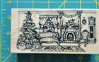 PSX rubber stamp K 2341 Victorian Christmas living room scene tree fireplace