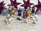 Day of the Dead NATIVITY + 4 Red TIN STARS Mexican Folk Art SET