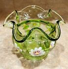 Fenton vase Green Apple Glass Hand Decorated with flowers signed S Whitlatch