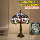 USA Retro Style Table Lamp Stained Glass Dragonfly Antique Vintage 19 x 12inches