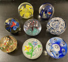 8 Vintage Paperweight Art Glass Lot Controlled bubble Fish Butterfly Flower Tree