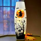 Spooky Witch Pumpkin Haunted House Halloween Glass Table Accent Hurricane Light