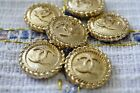 12 Stamped Chanel Buttons LOGO CC gold 06 inch 16 mm gold