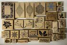 LOT OF 30 WOODEN AND RUBBER STAMPS CHRISTMAS THEMED DIFFERENT SIZES AND BRANDS