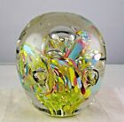 Large Vintage Multicolored Controlled Bubble Art Glass Multicolored Paperweight