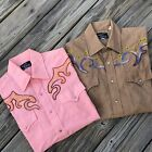 Lot Of 2 Vtg Champion Westerns Rockabilly Pearl Snap Shirt Embroidery165 34