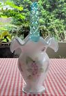 Fenton Glass Basket 95th Year Legacy Collection Hand Painted Flowers Signed 12