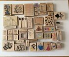 Wood Mounted Rubber Stamps Bundle of 46 Stamps Assorted Themes