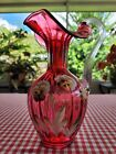 Fenton Art Glass Pansies Country Cranberry Pitcher Hand Painted Artist Signed