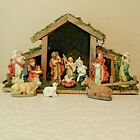 Nativity Set 11 Piece Wooden Stable Painted Ceramic Figures Mary Joseph Baby